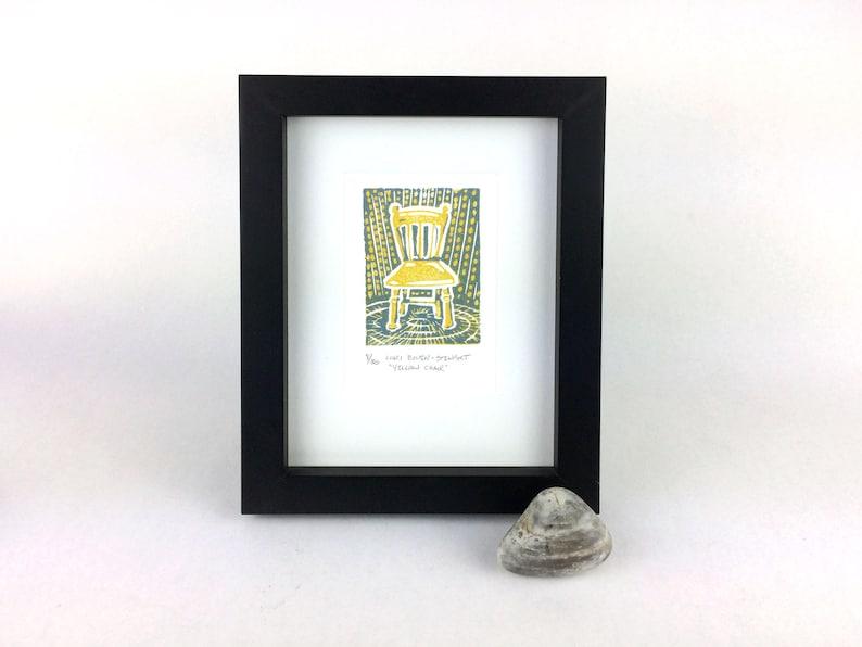 Gelbe Stuhl Hand Gezogen Linolschnitt Kunstwerk Etsy