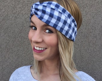 Navy Gingham Flannel Turban Twist Headband / Blue Checkers / Blue and White