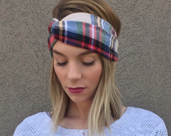 Coral Vintage Rose Twisted Turban Headband Cotton Flannel Headband Flannel Twist Headband Black Floral Headband