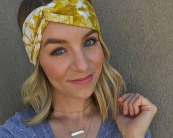 Mustard Splash Turban Twist Headband // Mustard // Yellow // Tie Dye // Gold // Golden //