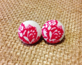 CLEARANCE!  Raspberries 'n Cream Button Earring