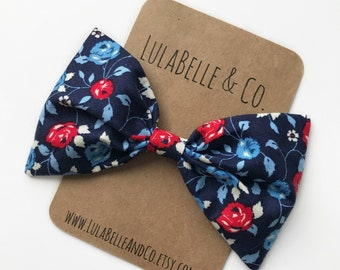 American Girl Floral LulaBelle Bow // American Flag // America // Fourth of July // Red White and Blue // Patriotic // Flowers // Roses