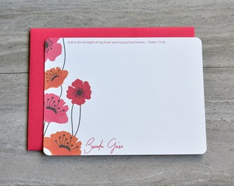 Personalized Stationery Set | Flat Note Cards | Scripture Stationery | Christian | Poppy Botanical | Red Pink Orange | Set of 12 +Envelopes