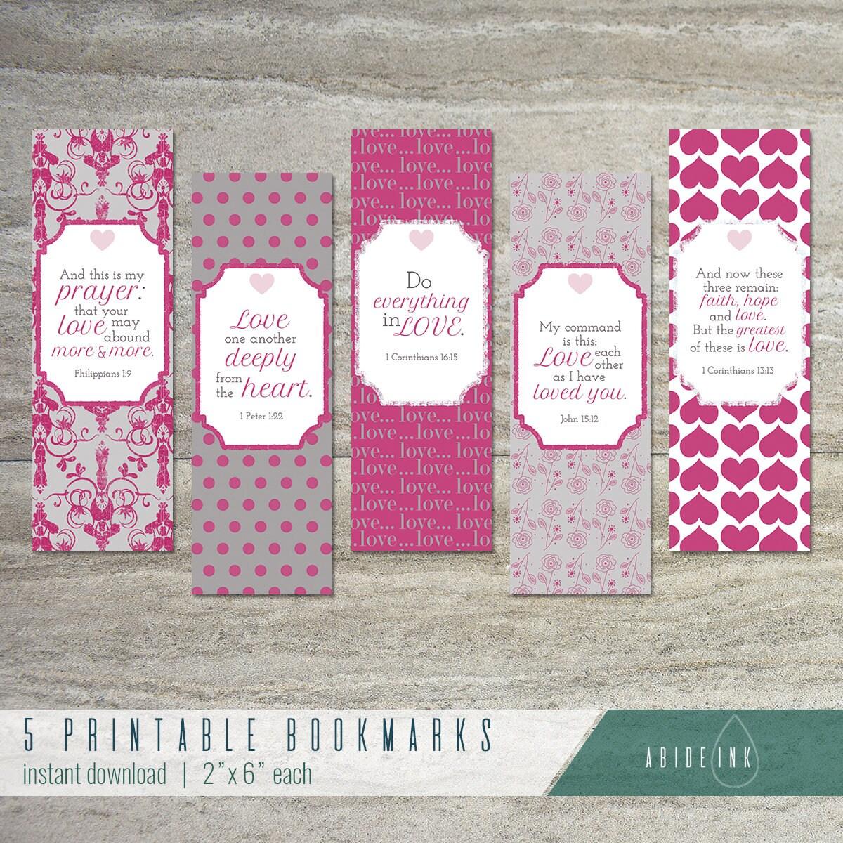 love printable bookmarks set of 5 teacher gift | etsy