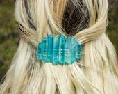 Crystal Barrette / Quartz Hair Clip / Mermaid Crown/ Quartz Hair Jewelry / Festival Hair Clip / Burning Man/ Hair Pin / Bridal Crystal Crown
