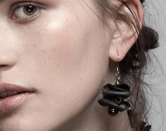 Repurposed materials earrings NAIROBI. Recycled bike inner tube jewelry. Black upcycled earrings. Eco-friendly gift for women.
