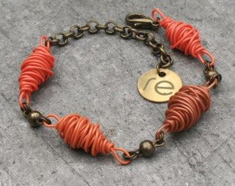 Recycled network cables bracelet DHAKA. Colorful jewelry made from repurposed materials. Gift for ecological women. Handmade jewelry