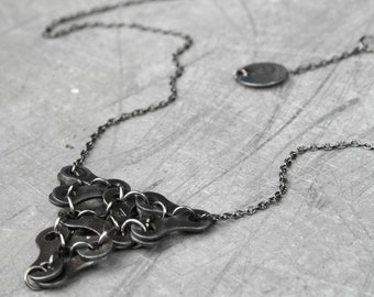 Recycled bicycle chain necklace TRURO. Recycled jewelry by Re-krea. Jewelry made of repurposed materials. Ecological gift for her.