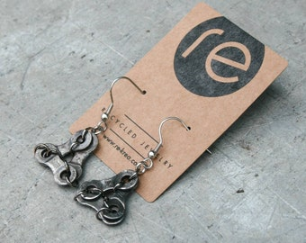 Recycled bike chain earrings LIVERPOOL. Jewelry for cyclists made of repurposed materials. Ecological gift for women.
