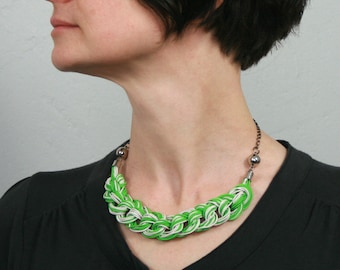 Colorful spring jewelry. Recycled green necklace. Electric cable jewelry. Eco-fiendly jewelry. Vegan necklace. Original gift for her.