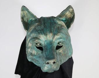 Faux Bronze Verdigris - Resin Wolf Mask