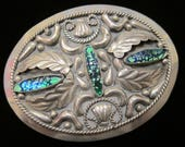 Vintage Mexico Mexican Alpaca Silver 3 Navette Marquise Foiled Art Glass Cabochons Four Leaves Large Belt Buckle - Unisex Mexican Accessory