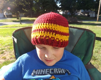 82ac80a8733 Harry Potter Hogwarts House colors inspired winter skull cap beanie crochet  hat