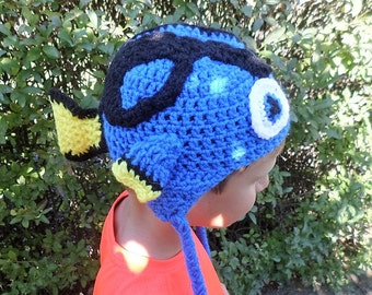 Finding Dory inspired crochet winter trapper hat a6463cb73438