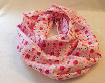 ab7619979 infinity scarf made from the Hello Kitty pink plaid with strawberries  cotton fabric, on sale