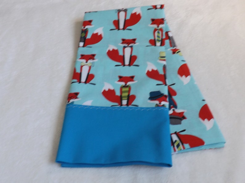 pillowcase made from what does the fox say wearing a suit cotton fabric with aqua trim