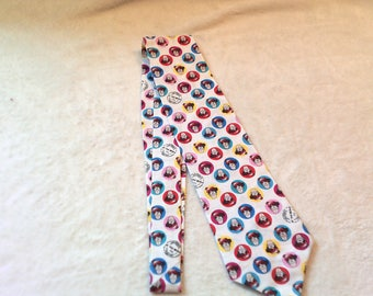 necktie or clip on tie made from Where's Waldo cotton fabric