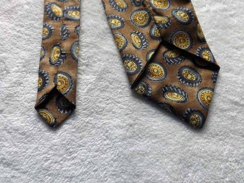graduation dump truck neck tie made from heavy construction equipment tire wheels cotton fabric necktie father loader tractor truck
