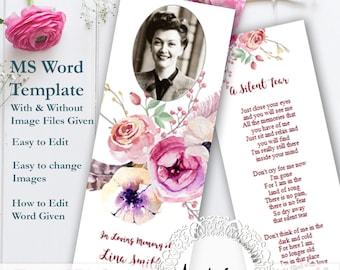 Pink Rose Funeral Bookmark TemplateMS Word Floral FuneralDigital Download Template Celebration Of Life