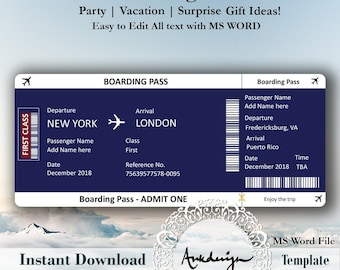 Boarding Pass Template Etsy