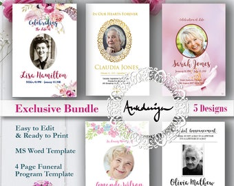 funeral program template etsy