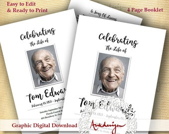 Funeral program template Men, Funeral Card, celebration of life, order of service, memorial program, black & white, MS Word Funeral, Booklet