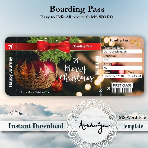 christmas ticket template airline ticket digital download etsy