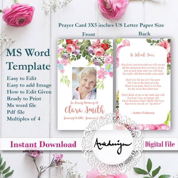 Floral Funeral Prayer Card Template Word