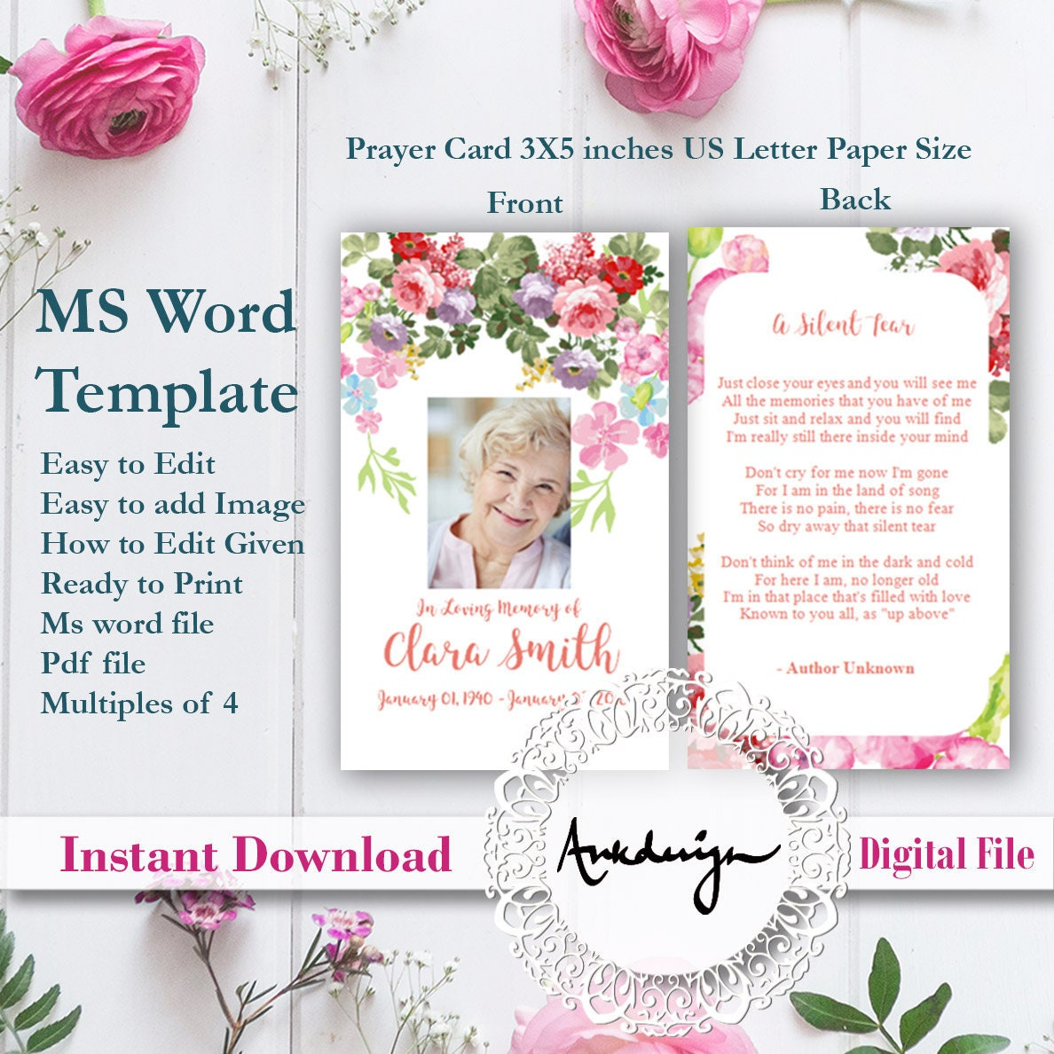 Floral Funeral Prayer Card template Word Funeral Prayer Printable Funeral  Cards Memorial template Rose Prayer template funeral memorial card Pertaining To Memorial Card Template Word
