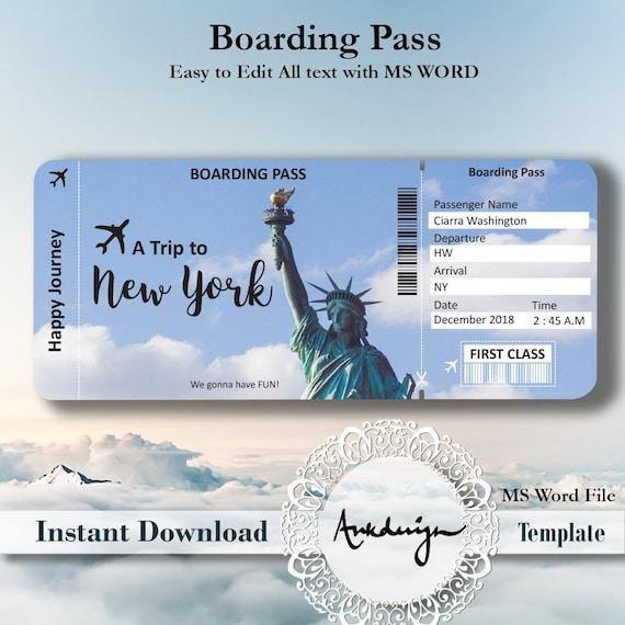 Bilet Na Nowy Jork Kupony Cyfrowe Do Pobrania Bilety Etsy