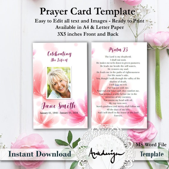 Floral Funeral Prayer Card Template Word Funeral Prayer Etsy
