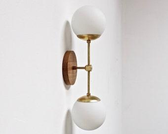 Vanity light fixture, wall sconce, mid century light, brass wall lamp