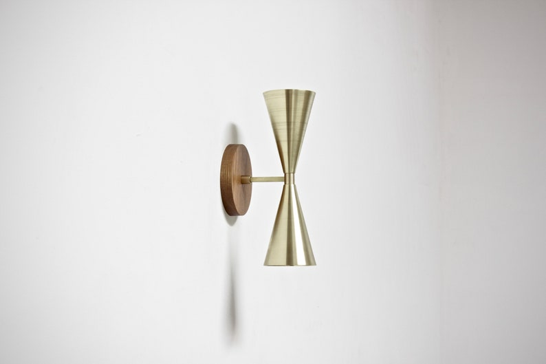 best authentic 042d5 5dd1b brass wall lamp, vanity light, mid century wall sconce, double wall lamp,  scandinavian lamp