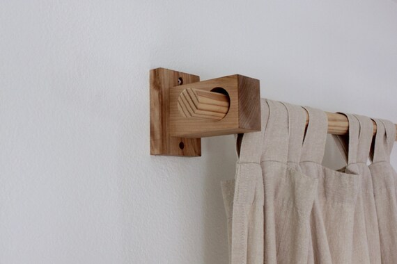 curtain holders curtain rod holders modern wood brackets etsy. Black Bedroom Furniture Sets. Home Design Ideas