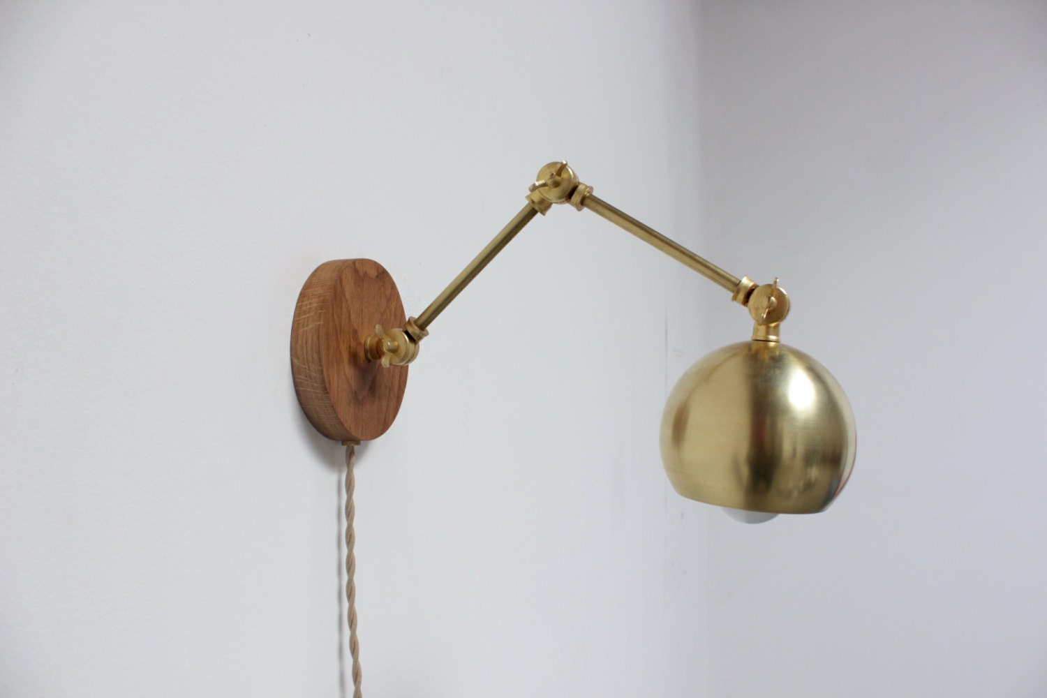 Plug In Wall Sconce Industrial Lighting Brass Sconce Mid