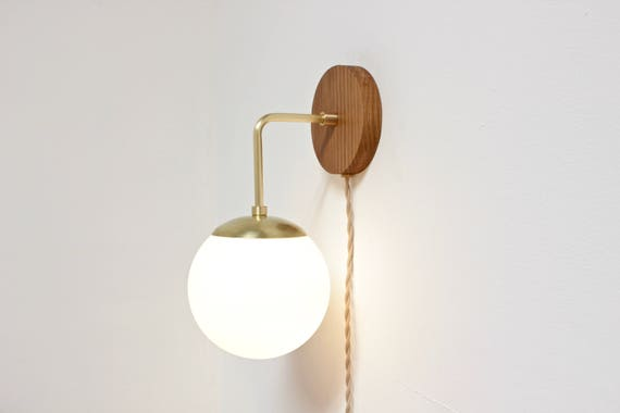 Plug in wall sconce midcentury lighting brass wall lamp etsy image 0 aloadofball Images