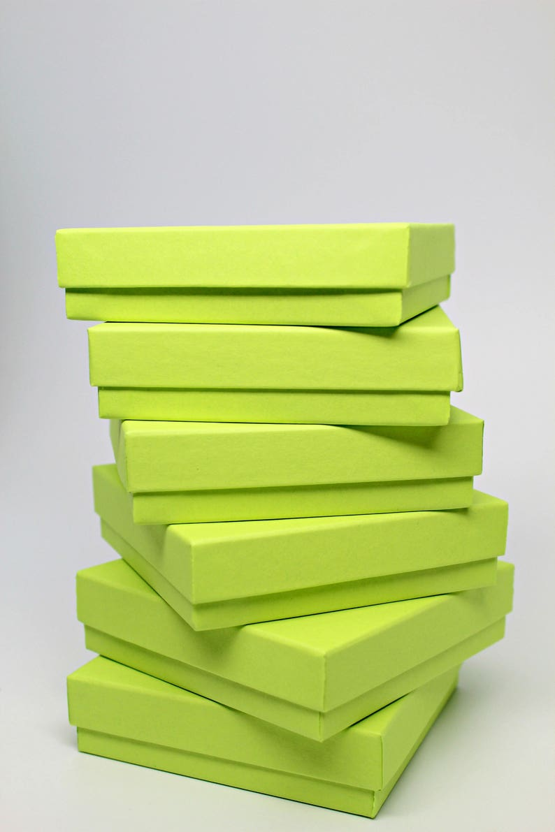 Made in USA Set of 6 Storage Boxes Kraft Jewelry Boxes with lids with Fiberfill Recycled Content Boxes Lime Green Gift or Display Box