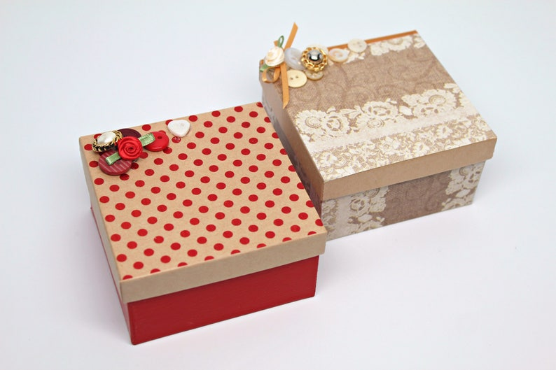 Gift Boxes for jewelry Decorated Gift Box Kraft Paper Box Non Tarnishing Cotton Fill CLEARANCE Gift Boxes with lids 1 box with lid