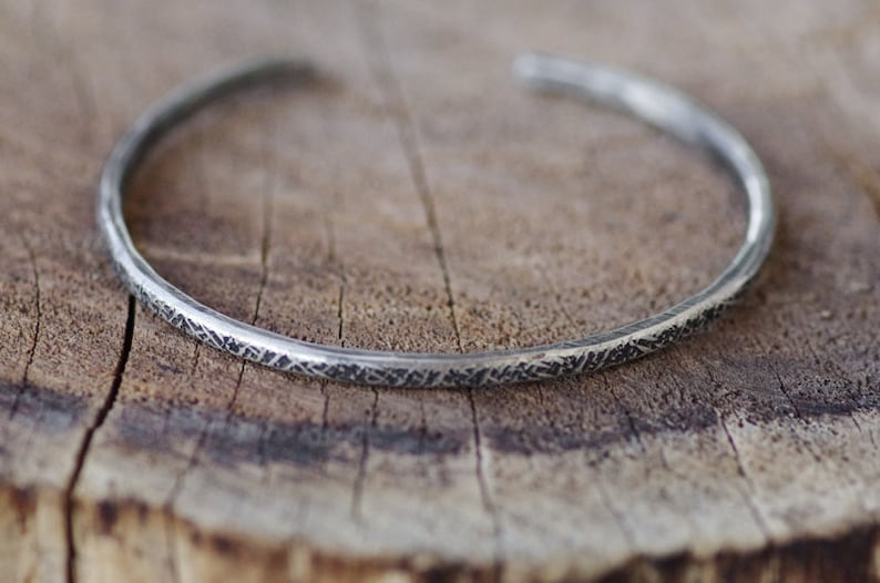 Wolven Oxidized Textured Pure Silver Cuff Bracelet Skinny Hammered Distressed Thin Small Rough Rustic Dainty Fine Silver