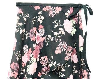 Black and Pink Floral Ballet Wrap Skirt-Short