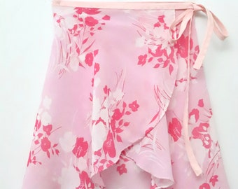 Pink floral skirt etsy pink and white floral ballet wrap skirt short mightylinksfo