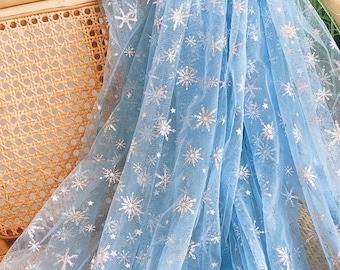 Frozen Print Silver Snowflake Tulle lace fabric, Sheer Mesh lace For Princess Gown, Party Dress, Birthday Prom, Cosplay, Christmas,By 1 yard