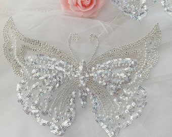 Silver Beads 3D Butterfly Lace Applique, Sequined Organza Lace patch For Flower Girl Dress, Garment Sewing, Dress Applique, Toddle, Baby