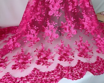 Hot Pink floral lace fabric with scallops edge for wedding gown, bridesmaid dress, party dress or cocktail dress