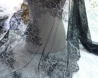 French Chantilly Lace Wider in BLACK for Bridal Lace Caps, Shawls, Gowns, Wedding Table Runner