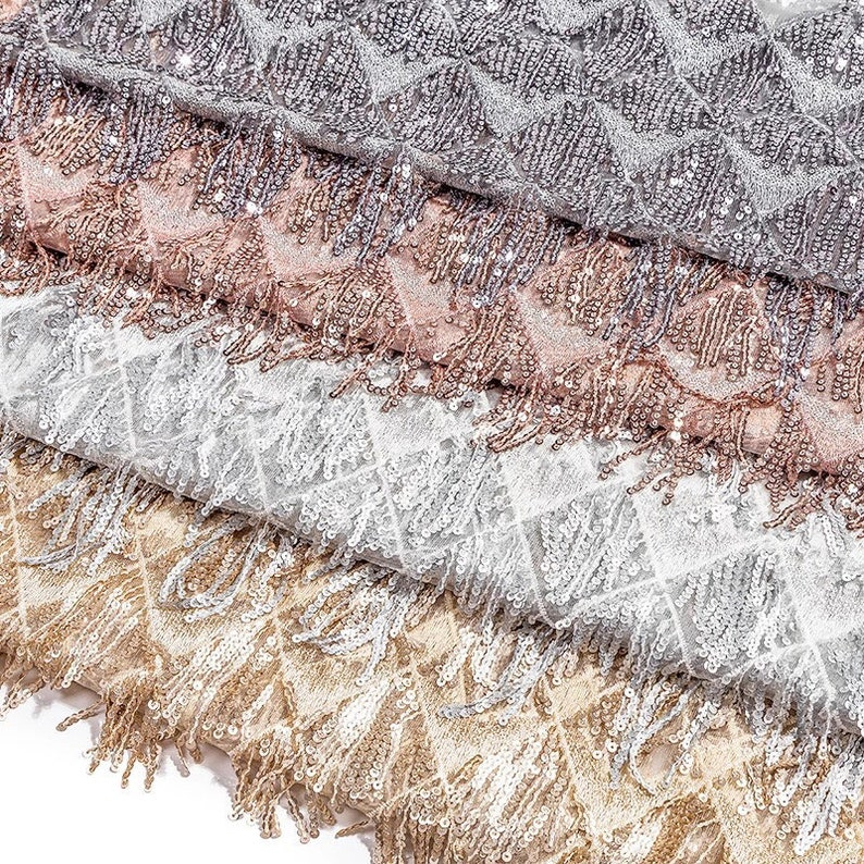 Sequins Fringe Lace Fabric Gold   Silver   Rose Gold Sequins  cf454d411280