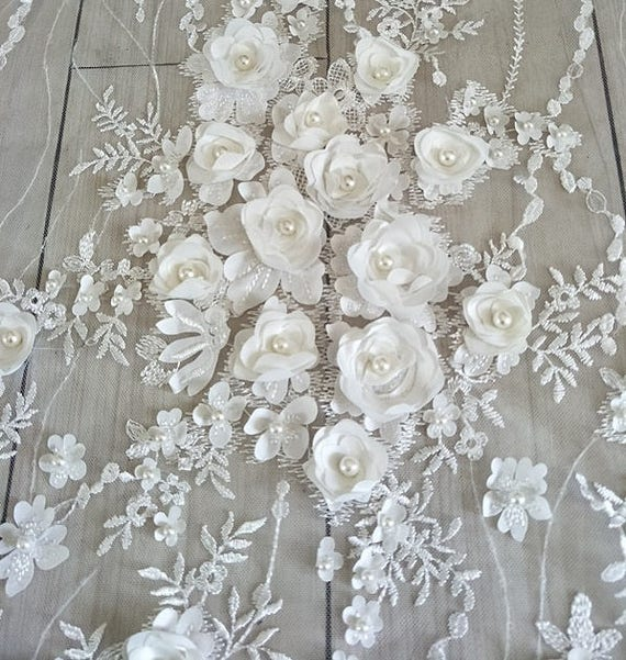 hand made lace 3D lace fabric 3d spitze stoff Wedding Lace K00699 embroidery lace fabric,flowers 3D lace fabric Beaded Lace Fabric