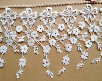 Exquisite Teardrop Lace, Flowers Trim, Wedding Fabric Lace, Jewelry Supplies, Bridal Supplies