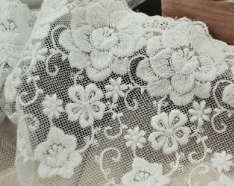 Graceful Embroidery Lace White Tulle Trim Cotton Lace Trims 5.11 inches wide 2 yards
