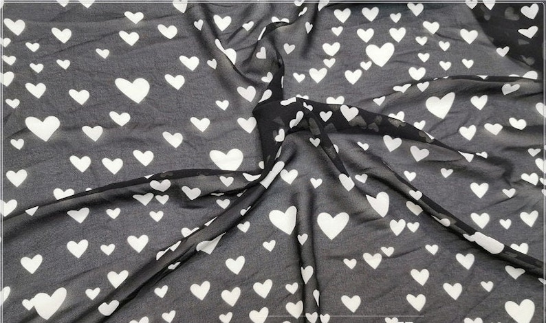 Breathable Print Big Small sizes Hearts for Lace Top Spring Dress Soft and Flowing Love Hearts Overlay Chiffon fabric 1 yard Party Dress